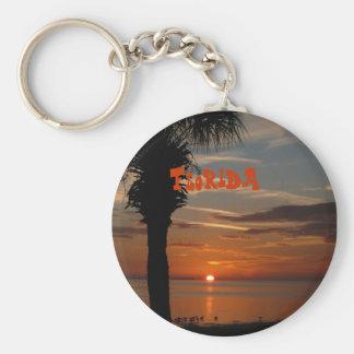 Puesta del sol de la Florida con llavero de la pal