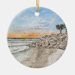 Puesta del sol de la Florida de la playa de Braden Ornamentos De Navidad