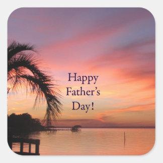 Puesta del sol de la Florida del día de padre Pegatina Cuadradas