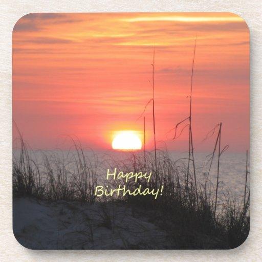 Puesta del sol de la Florida del feliz cumpleaños Posavasos
