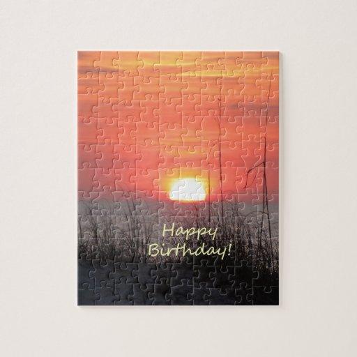 Puesta del sol de la Florida del feliz cumpleaños Rompecabezas Con Fotos