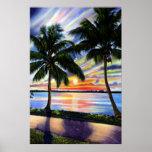 Puesta del sol de la Florida en la costa Poster