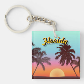 Puesta del sol de la Florida Llavero Cuadrado Acrílico A Una Cara