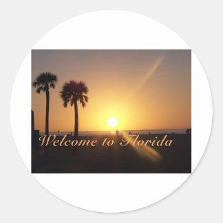 Puesta del sol de la Florida Pegatinas Redondas