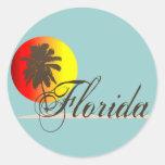 Puesta del sol de la Florida Pegatina Redonda