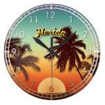 Puesta del sol de la Florida Reloj Redondo Grande