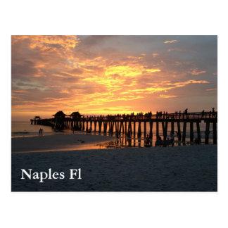 puesta del sol de la fotografía de Nápoles la Tarjeta Postal