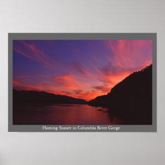 Puesta del sol de la garganta del río Columbia Impresiones