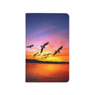 Puesta del sol de la gaviota - gaviotas del vuelo  cuadernos