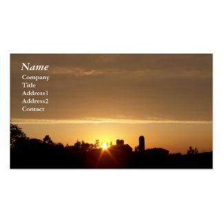 Puesta del sol de la granja - tarjetas de visita