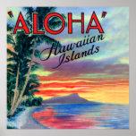 Puesta del sol de la hawaiana de las islas hawaian poster