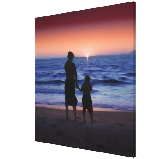 Puesta del sol de la hija de la madre lona envuelta para galerías