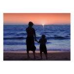 Puesta del sol de la hija de la madre plantilla de tarjeta personal