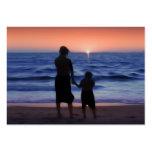 Puesta del sol de la hija de la madre tarjetas de visita