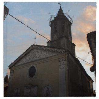 Puesta del sol de la iglesia de Laino Borgo Servilleta De Papel