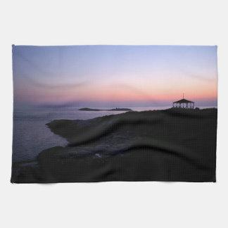 Puesta del sol de la isla de la estrella toallas de cocina