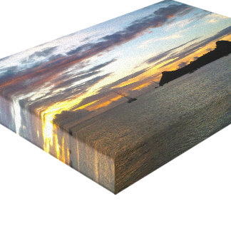 Puesta del sol de la isla de la paloma lona envuelta para galerias