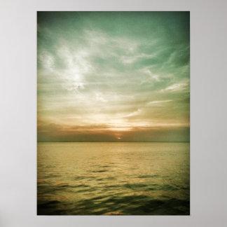 Puesta del sol de la isla de Long Beach Póster