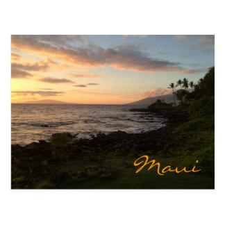 Puesta del sol de la isla de Maui Tarjeta Postal