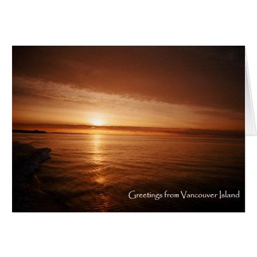 Puesta del sol de la isla de Vancouver Felicitacion