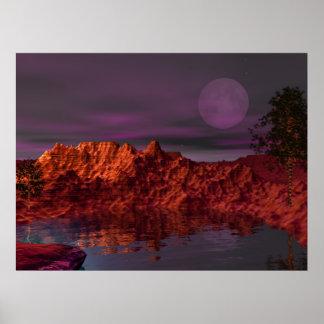 Puesta del sol de la isla del barranco del desiert póster
