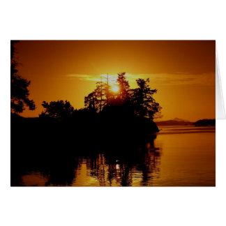 Puesta del sol de la isla del golfo tarjeta de felicitación
