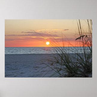Puesta del sol de la isla del tesoro en la lona v impresiones