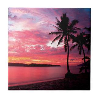 Puesta del sol de la isla hawaiana azulejo cuadrado pequeño