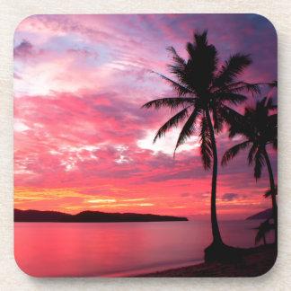 Puesta del sol de la isla hawaiana posavaso