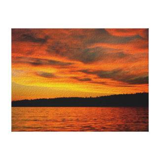 Puesta del sol de la isla impresión en lienzo estirada