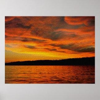 Puesta del sol de la isla posters