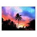 Puesta del sol de la isla tarjeta de felicitación