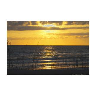 Puesta del sol de la lengua de territorio impresión en lienzo