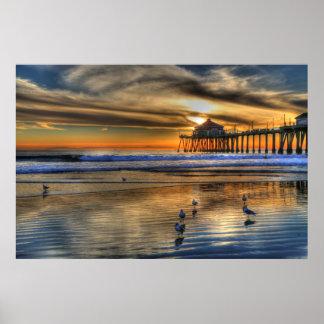 Puesta del sol de la marea baja de enero póster