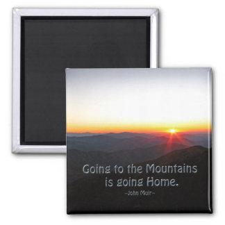 Puesta del sol de la montaña cita asteroide/de imán cuadrado