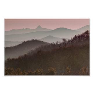 Puesta del sol de la montaña de Bue Ridge en Carol Foto