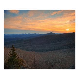 Puesta del sol de la montaña de Ridge azul Fotografías