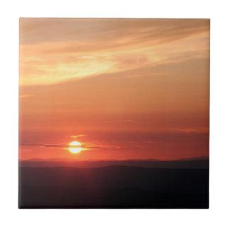 Puesta del sol de la montaña en el Shenandoah Azulejo Cuadrado Pequeño