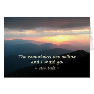 Puesta del sol de la montaña: Mtns que llama la Tarjeta De Felicitación