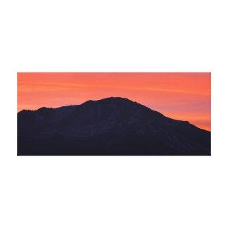 Puesta del sol de la montaña rocosa impresiones en lona estiradas