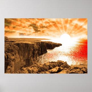 puesta del sol de la opinión del borde del acantil impresiones