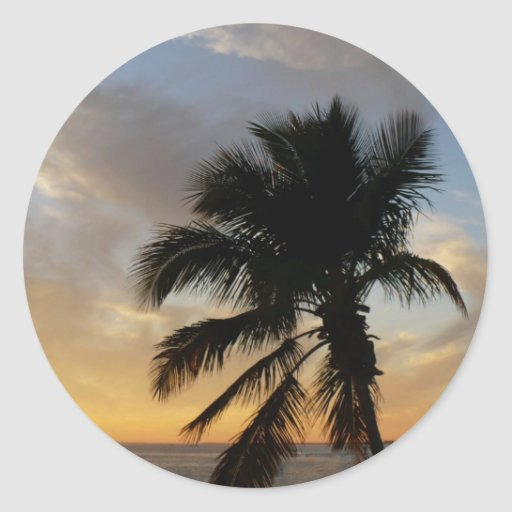Puesta del sol de la palma pegatina redonda