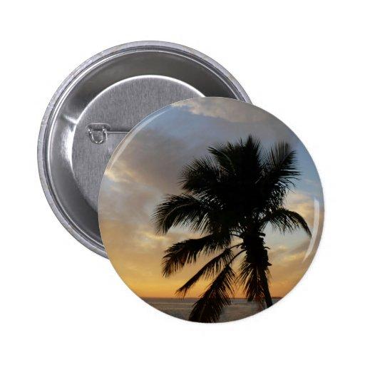 Puesta del sol de la palma pin redondo 5 cm