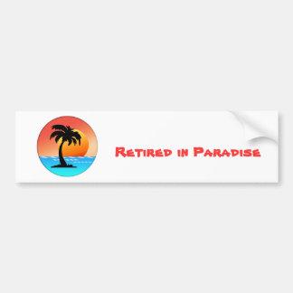 Puesta del sol de la palmera etiqueta de parachoque