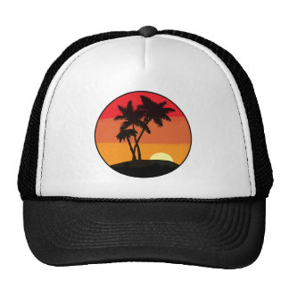 Puesta del sol de la palmera gorros