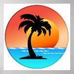 Puesta del sol de la palmera impresiones