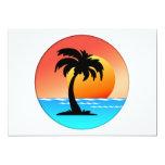 Puesta del sol de la palmera invitación
