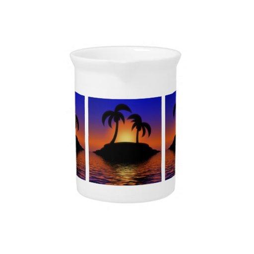 Puesta del sol de la palmera jarras de beber