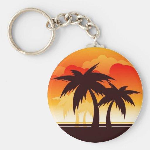 Puesta del sol de la palmera - llavero