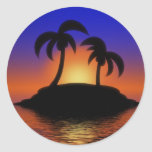 Puesta del sol de la palmera pegatina redonda